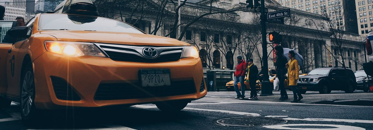 Yellow Lyft Taxi in New York City